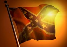 Waving Confederate flag. Winner waving Confederate flag against the sunset Stock Photography