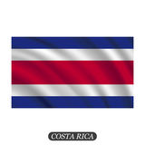 Waving Costa Rica flag on a white background. Vector illustration Royalty Free Stock Photography