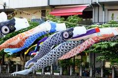 Waving cotton handicraft carps fish in the sky, Takayama, Japan Stock Photography