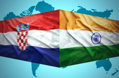 Waving Croatian and Indian flags Royalty Free Stock Photos