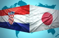 Waving Croatian and Japanese flags Stock Photos