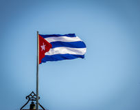 Waving Cuban Flag. In Havana, Cuba Stock Photos