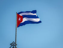 Waving Cuban Flag. In Havana, Cuba Royalty Free Stock Photography