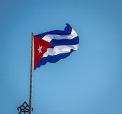 Waving Cuban Flag. In Havana, Cuba Royalty Free Stock Photo
