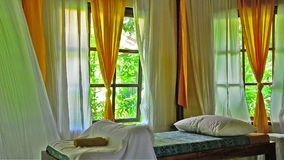 Waving curtains at a Spa in Bali Indonesia stock footage