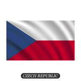 Waving Czech Republic flag on a white background. Vector illustration Royalty Free Stock Photos
