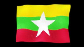 Waving 3d The National Flag Myanmar Burma Made from small particles