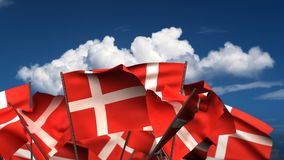 Waving Danish Flags stock video