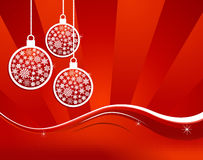 Waving elegant red Christmas background. Christmas hanged baubles over red background. Vector illustration layered for easy manipulation and custom coloring stock illustration
