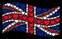 Waving UK Flag Pattern of Love Heart Icons. Waving English official flag on a black background. Vector love heart elements are combined into conceptual English Stock Illustration
