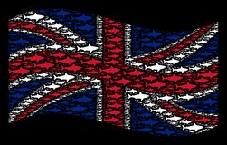 Waving UK Flag Collage of Shark Icons. Waving English official flag on a black background. Vector shark elements are placed into geometric UK flag composition Stock Image