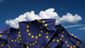 Waving Europe Flags Royalty Free Stock Photography