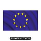 Waving European Union flag on a white background. Vector illustration Stock Photography