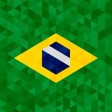 Waving fabric flag of Brazil. Vector background illustration Stock Photo