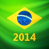 Waving fabric flag of Brazil Stock Photo