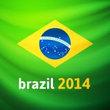 Waving fabric flag of Brazil Royalty Free Stock Images