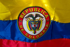 Waving Fabric Flag of Colombia Royalty Free Stock Photo