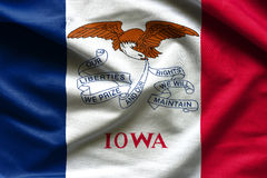 Waving Fabric Flag of Iowa Stock Images