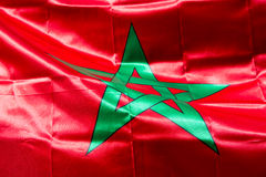 Waving Fabric Flag of Morocco Royalty Free Stock Image