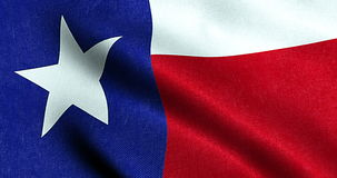 Waving fabric texture of the flag with blue and red color of nation texas, nation of the usa stock footage