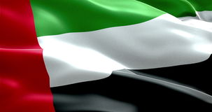 Waving fabric texture of the flag with color of united arab emirates, uae stock video footage