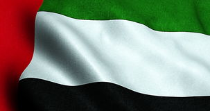 Waving fabric texture of the flag with color of united arab emirates stock footage