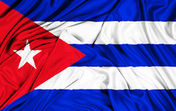 Waving fabric texture of the flag of cuba, color red blue and white of cuban flag Royalty Free Stock Photos