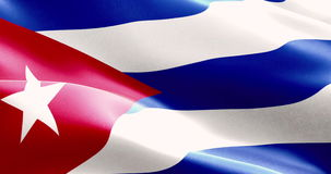 Waving fabric texture of the flag of cuba, real texture color red blue and white of cuban flag stock video