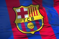 Waving fabric texture flag of FC Barcelona football club, real t. Exture flag, editorial use only stock images