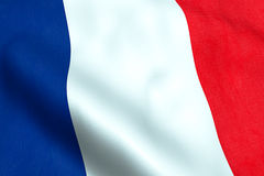 Waving fabric texture of the flag of france, red, white, blue color of french. Republic Stock Image