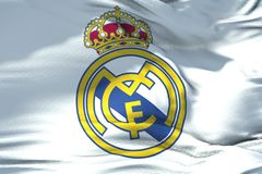 Waving fabric texture flag of Real Madrid C.F. football club, re Royalty Free Stock Photo