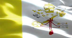 Waving fabric texture of the flag of vatican city state. 3d animation stock video footage