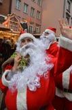 Waving Father Christmas. Father Christmas -German Fair & Market Dusseldorf Royalty Free Stock Image