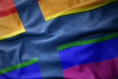 Waving finland rainbow gay pride flag banner. Waving finland colorful rainbow gay pride flag banner Stock Photography