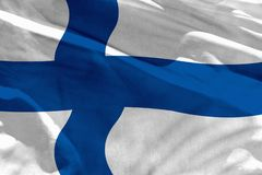 Waving Finland flag for using as texture or background, the flag is fluttering on the wind. Fluttering Finland flag for using as texture or background, the flag royalty free stock photo
