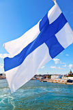 Waving Finnish Flag Stock Photos