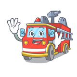 Waving fire truck character cartoon. Vector illustration Royalty Free Stock Images