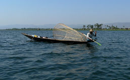 Waving Fisherman. Inle Lake Myanmar (Burma royalty free stock photo