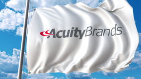 Waving flag with Acuity Brands logo. Editoial 3D rendering Stock Image