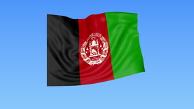 Waving flag of Afghanistan, seamless loop. Exact size, blue background. Part of all countries set. 4K ProRes with alpha. Flapping flag of Afghanistan, blue vector illustration
