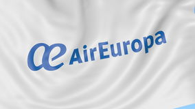 Waving flag of Air Europa against blue sky background, seamless loop. Editorial 4K animation stock video