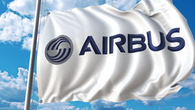Waving flag with Airbus logo against sky and clouds. Editorial 3D rendering. Waving flag with Airbus logo against sky and clouds. Editorial 3D Stock Photo