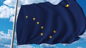 Waving flag of Alaska stock illustration