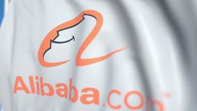 Waving flag with Alibaba Group logo, close-up. Editorial loopable 3D animation royalty free illustration