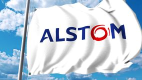 Waving flag with Alstom logo against clouds and sky. 4K editorial animation stock footage