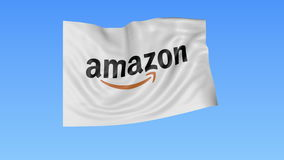 Waving flag with Amazon.com logo, seamless loop, blue background. Editorial animation. 4K ProRes, alpha. Flapping flag with Amazon logo, seamless looping against royalty free illustration