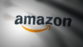 Waving flag with Amazon logo, close-up. Editorial loopable 3D animation