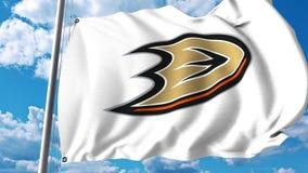 Waving flag with Anaheim Ducks NHL hockey team logo. 4K editorial clip. Waving flag with Anaheim Ducks NHL hockey team logo. 4K editorial animation vector illustration