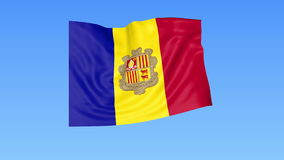 Waving flag of Andorra, seamless loop. Exact size, blue background. Part of all countries set. 4K ProRes with alpha. Flapping flag of Andorra, blue background royalty free illustration