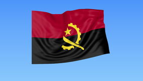 Waving flag of Angola, seamless loop. Exact size, blue background. Part of all countries set. 4K ProRes with alpha. Flapping flag of Angola, blue background vector illustration